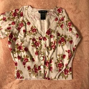 Cropped floral printed cardigan
